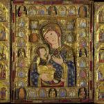 Sala I. Trittico in legno lamina d'argento dorato, perle, gemme e smalto, XIV secolo, dalla chiesa di San Nicola ad Alba Fucens. Raffigura la Vergine con Bambino benedicente.
